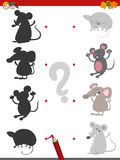 Shadow game with mice. Cartoon Illustration of Find the Shadow Educational Activity Game for Children with Mouse Animal Characters Stock Photo