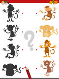 Shadow game with monkeys. Cartoon Illustration of Find the Shadow Educational Activity Game for Children with Monkeys Animal Characters Stock Photos