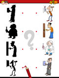 Shadow game with people. Cartoon Illustration of Find the Shadow Educational Activity Game for Children with People Characters Royalty Free Stock Photos