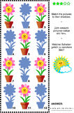Shadow game with potted flowers. Visual puzzle or riddle with potted flowers: Match the pictures to their shadows. Answer included vector illustration