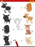 Shadow game with puppies. Cartoon Illustration of Find the Shadow Educational Activity Game for Children with Dogs or Puppies Animal Characters Stock Photo