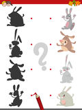Shadow game with rabbits. Cartoon Illustration of Find the Shadow Educational Activity Game for Children with Rabbits Animal Characters Royalty Free Stock Images