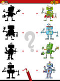 Shadow game with robots. Cartoon Illustration of Find the Shadow Educational Activity Game for Children with Robot Fantasy Characters Royalty Free Stock Images