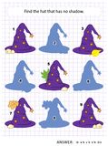 Shadow game with witch hats. Halloween themed visual puzzle or picture riddle with witch`s hat: Find the hat that has no shadow. Answer included.n Royalty Free Stock Photos
