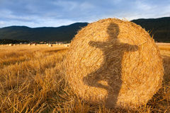 Shadow of a girl doing yoga on the bale of hay Stock Image