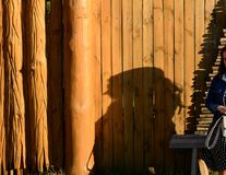 A shadow of a girl like pinocchio stock image