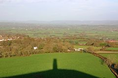 Shadow of Glastonbury Tor, Somerset Stock Images