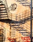 Shadow and Graffiti, Zakynthos, Greece Stock Images