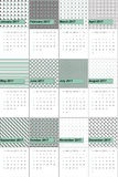 Shadow green and emperor colored geometric patterns calendar 2016 Royalty Free Stock Image
