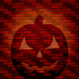 Shadow of Halloween pumpkin on a brick wall Royalty Free Stock Photography