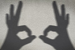 Shadow of hand. On wall Royalty Free Stock Photography