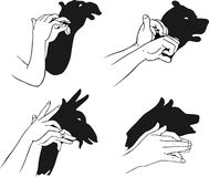 Shadow of hands forming animal head. This image is a vector illustration and can be scaled to any size without loss of resolution, can be variated and used for Stock Photography
