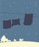 A shadow of hanging clothes in a winter season Stock Photography