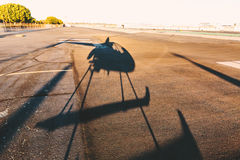 Shadow of a helicopter stock photography
