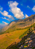 Shadow of hiker Hidden Lake Overlook Glacier National Park Royalty Free Stock Images