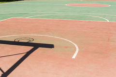 Shadow of the hoop board and frame in basketball court Royalty Free Stock Photos