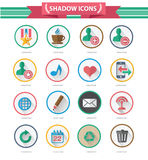 16 Shadow icons on white background. Colorful version stock illustration