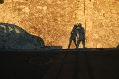 Shadow kiss Stock Images
