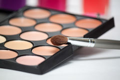 Shadow kit with brushes for make-up Stock Photography