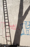 Shadow ladder. Leaning ladder and tree cast shadows on graffitied wall Royalty Free Stock Photo