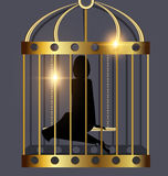 Shadow of lady and golden cage Royalty Free Stock Photo