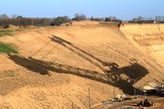 Shadow of an lignite excavato, whats the future. Of the coal in germany stock photos
