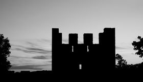 Shadow of Lisbon medieval castle tower at sunset Royalty Free Stock Image