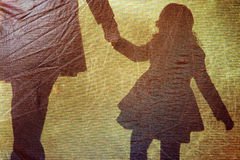 Shadow of a little girl and woman Royalty Free Stock Photo