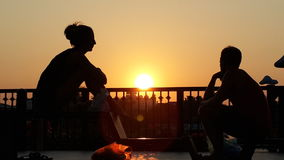Shadow lover in the sunset. Royalty Free Stock Photo