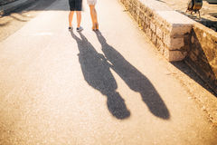 Shadow of lovers on the floor Royalty Free Stock Image