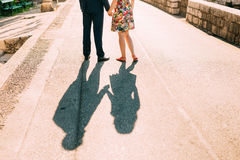 Shadow of lovers on the floor Royalty Free Stock Photo