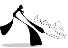 Shadow man badminton cartoon Stock Photos