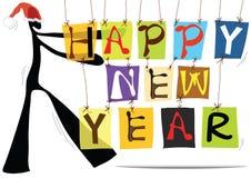 Shadow man cartoon happy new year. Illustration shadow man cartoon and happy new year colorful wording Royalty Free Stock Photography