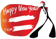 Shadow man cartoon happy new year Royalty Free Stock Images