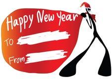 Shadow man cartoon happy new year. Illustration shadow man cartoon carrying happy new year card Royalty Free Stock Images
