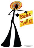 Shadow man cartoon show best seller sign Stock Photo