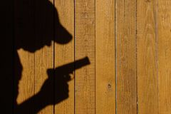Shadow of a man with a gun on a wooden fence, XXXL image Royalty Free Stock Photo