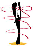 Shadow man gymnastic with ribbon. Stock Photo