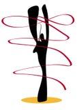 Shadow man gymnastic with ribbon. Stock Photo