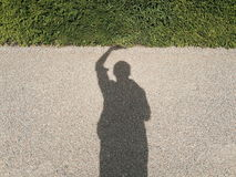 Shadow of a man holding grass Royalty Free Stock Images