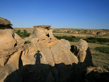 Shadow of Man on Hoodoos Stock Photography