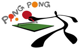 Shadow man ping pong or table tennis Stock Photos
