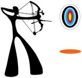Shadow man playing archery Royalty Free Stock Images