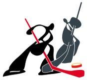 Shadow man playing hockey symbol Royalty Free Stock Images