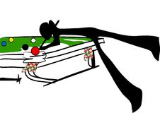 Shadow man playing snooker Royalty Free Stock Photography