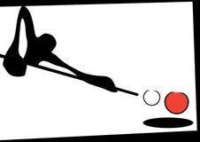 Shadow man playing snooker. Illustration shadow man cartoon playing snooker Royalty Free Stock Photos