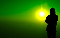 Shadow man stand on sun light background. Man shadow in light royalty free stock images