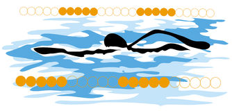 Shadow man swimming sport Royalty Free Stock Photos