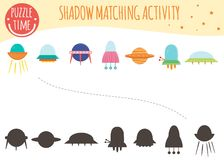 Shadow matching activity for children. Space topic vector illustration