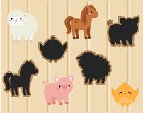 Shadow matching game. Kids activity with cute farm animals
